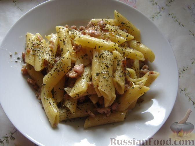 быстрый рецепт соус из говяжьего фарша с макаронами пенек