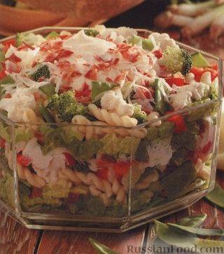 Рецепт Слоеный салат из овощей и макарон