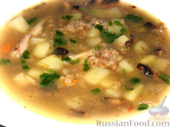 Рецепт Гречневый суп с курицей и грибами