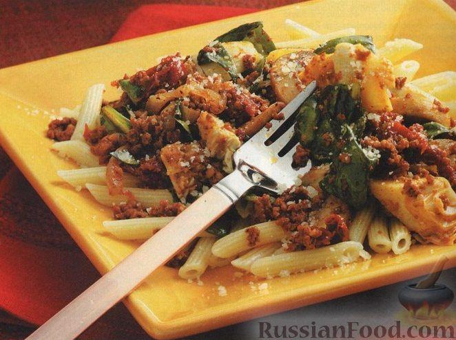 Рецепт Макароны с мясом и шпинатом