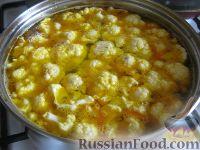Фото приготовления рецепта: Вегетарианский постный овощной супчик с цветной капустой - шаг №7