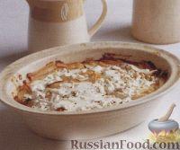 Фото к рецепту: Картофель, запеченный с тунцом в сливочном соусе