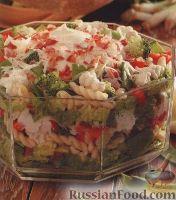 Фото к рецепту: Слоеный салат из овощей и макарон