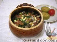 Фото к рецепту: Картошка с мясом в горшочках