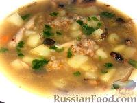 Фото к рецепту: Гречневый суп с курицей и грибами