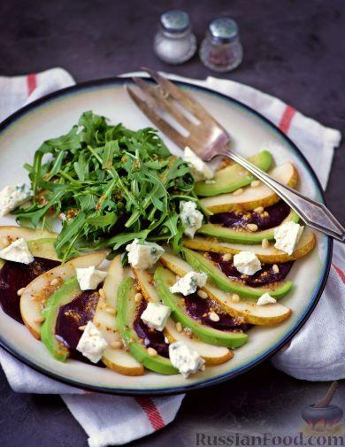 Фото к рецепту: Салат из свеклы, груши и авокадо
