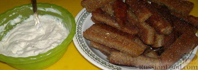 Рецепт Чесночные гренки с сырным соусом