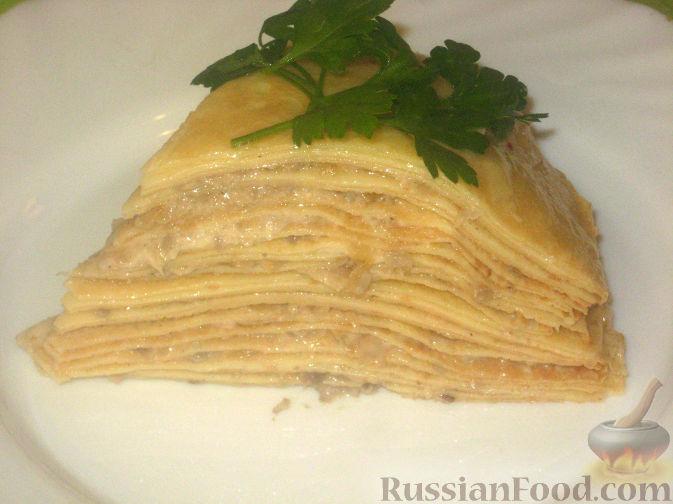 Рецепт Блинная лазанья с грибами