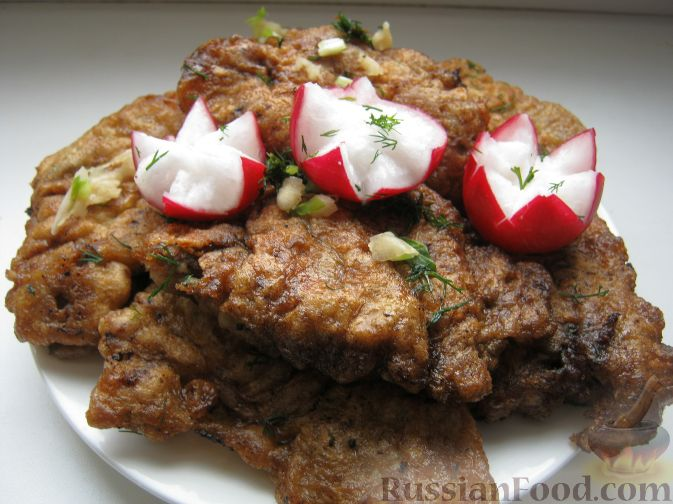 Рецепт Говяжья печень, жаренная в масле