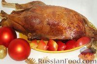 Фото к рецепту: Гусь с яблоками (немецкая Рождественская классика)