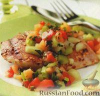 Фото к рецепту: Куриное филе с дыневой сальсой