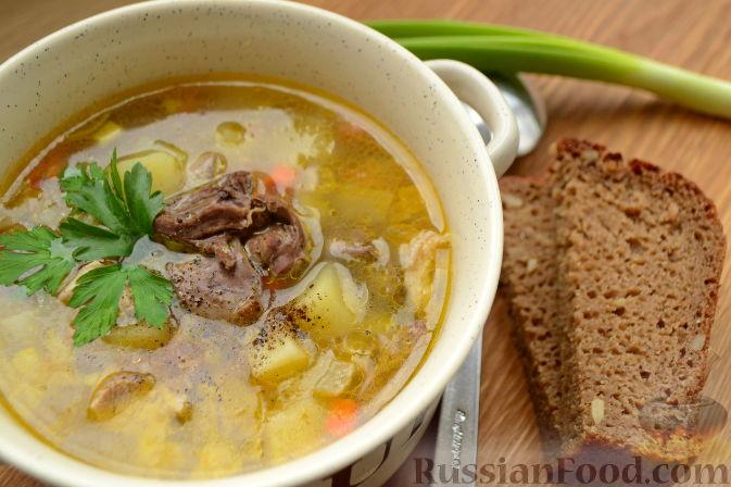 Фото к рецепту: Суп с куриными сердечками