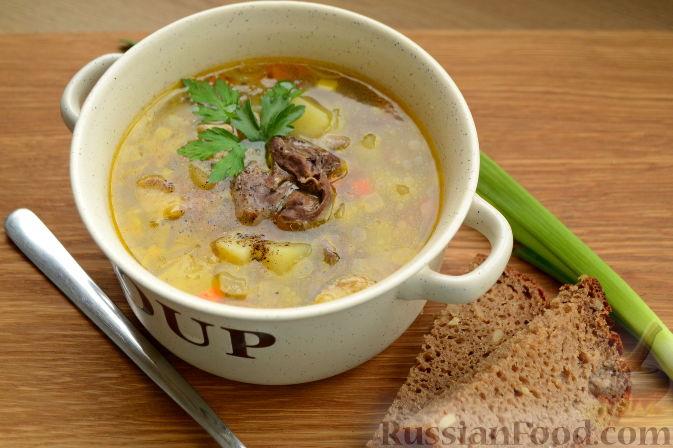Фото приготовления рецепта: Суп с куриными сердечками - шаг №9