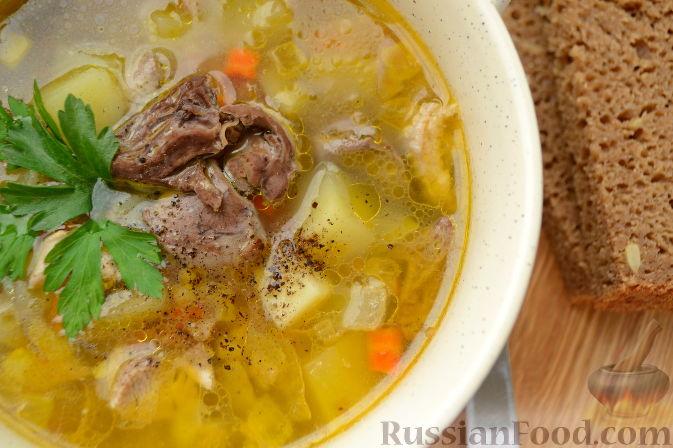 Фото приготовления рецепта: Суп с куриными сердечками - шаг №10