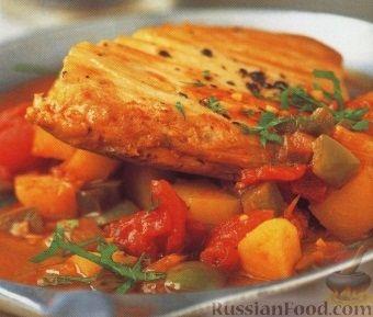 Рецепт Тунец, тушенный с овощами