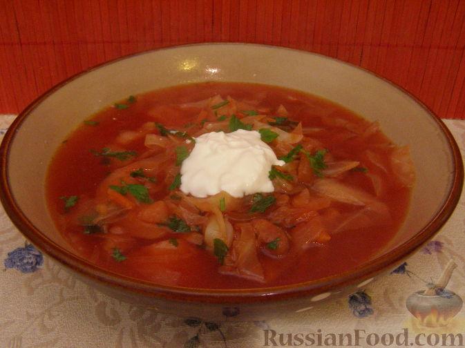 Рецепт Постный красный борщ с фасолью