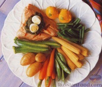 Рецепт Весенние овощи с лососем