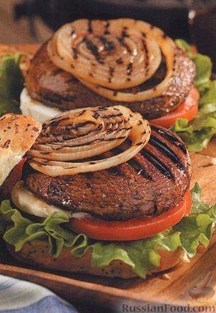 Рецепт Бургеры с грибами, луком, помидорами и сыром