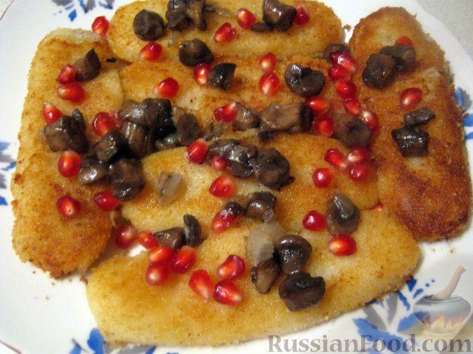 Рецепт Картофельные котлеты с грибами и гранатом