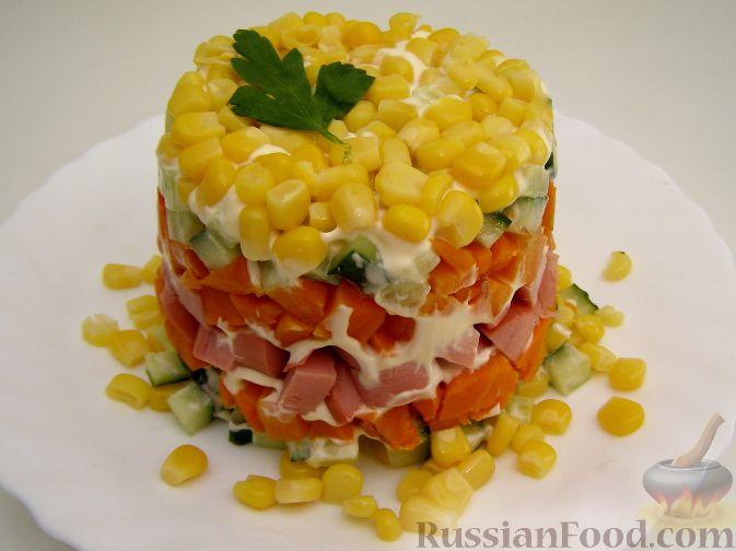 Красивый салат с кукурузой