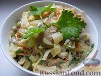 Фото к рецепту: Овощной салат со свежими шампиньонами
