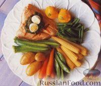 Фото к рецепту: Весенние овощи с лососем