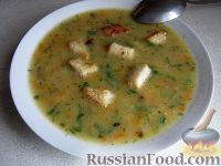 Фото к рецепту: Суп гороховый с гренками