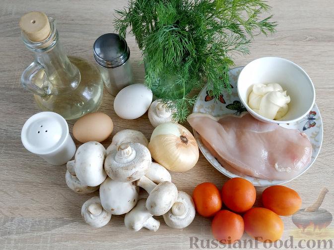 Фото приготовления рецепта: Салат с запеченным куриным филе и яичными блинчиками - шаг №1