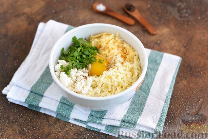 Фото приготовления рецепта: Баклажаны, фаршированные творогом и сыром - шаг №3