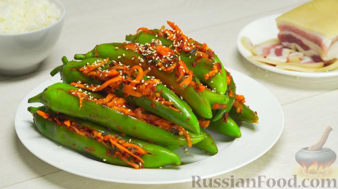 Фото к рецепту: Кимчи из зелёного острого перца