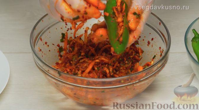 Фото приготовления рецепта: Кимчи из зелёного острого перца - шаг №12