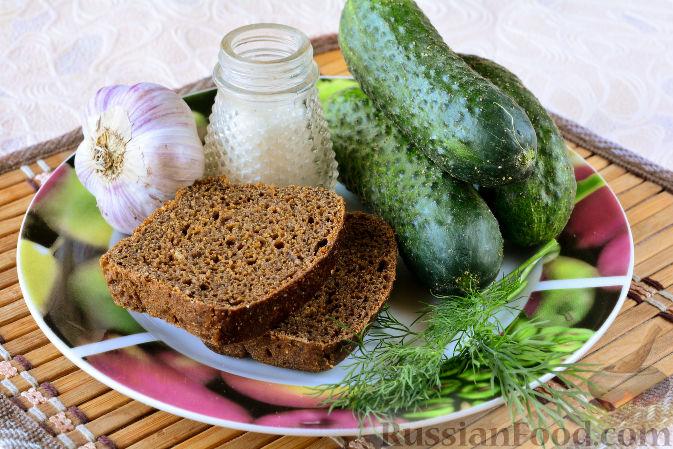 Фото приготовления рецепта: Огурцы, засоленные с ржаным хлебом - шаг №1