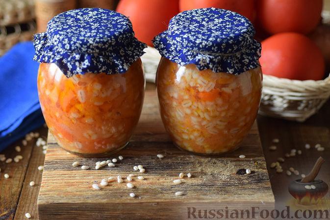Фото приготовления рецепта: Овощной салат с перловкой на зиму - шаг №12