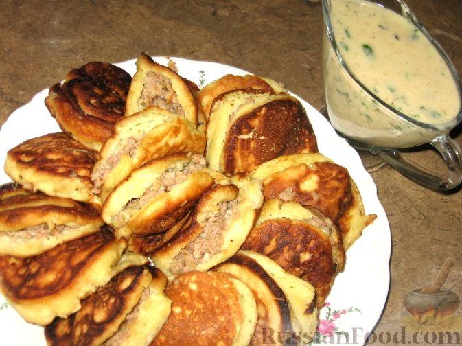 Рецепт Оладушки с мясной начинкой