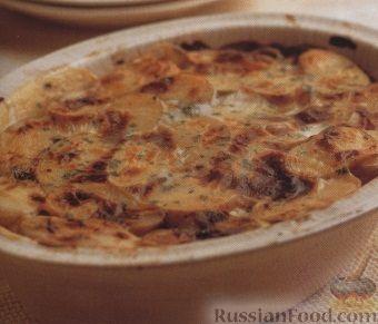 Рецепт Картофель, запеченный с треской под молочным соусом