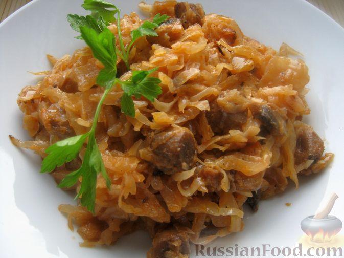 Рецепт Капуста тушеная с грибами