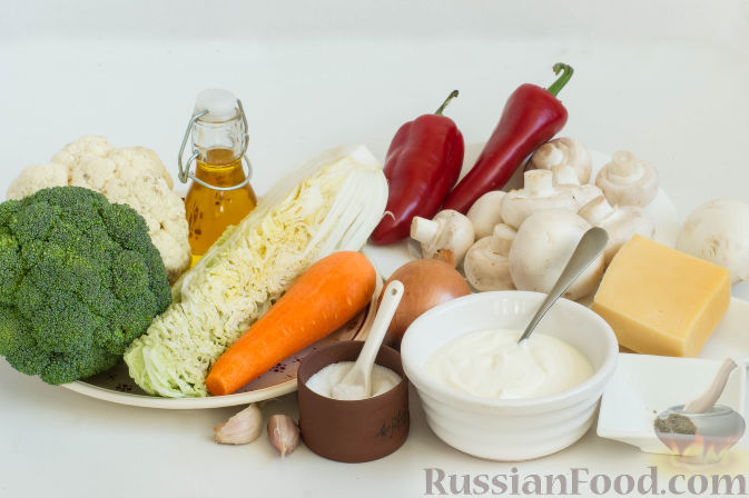 Фото приготовления рецепта: Овощное рагу с грибами, в сметанно-сырном соусе - шаг №1