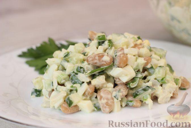 Фото к рецепту: Белковый салат с кальмарами