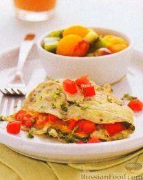 Рецепт Омлет с помидорами, сыром и кинзой