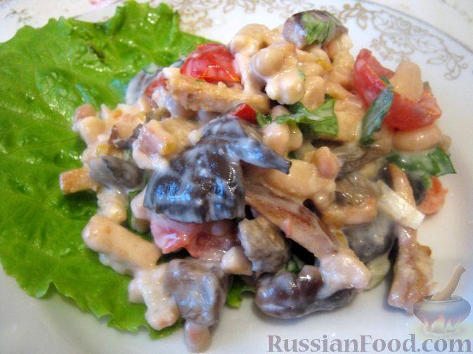 салат с отварными грибами рецепт