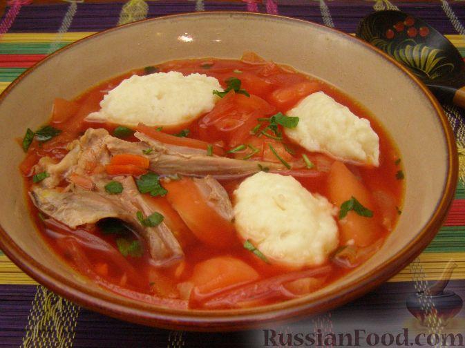 Рецепт Борщ полтавский с курицей и галушками