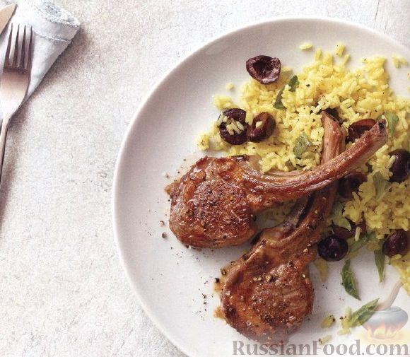 Рецепт Жареные бараньи ребрышки с вареным рисом