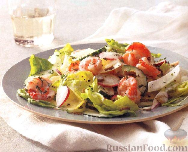 Рецепт Салат овощной с креветками