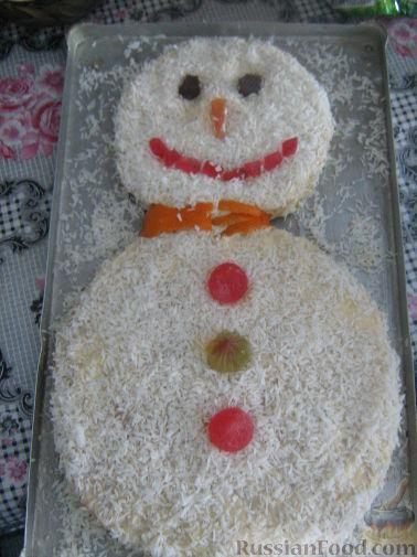 Фото рецепт снеговика на торт