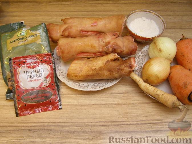 холодец рецепт из рульки и свиных ножек рецепт с фото