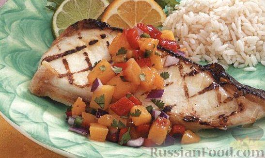 Рецепт Жареный палтус с персиковой сальсой