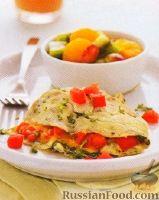 Фото к рецепту: Омлет с помидорами, сыром и кинзой