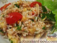 Фото к рецепту: Салат из тунца с рисом, помидорами и бананами
