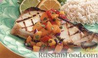 Фото к рецепту: Жареный палтус с персиковой сальсой