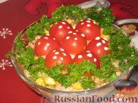 "Фото к рецепту: Грибной салат ""Мухомор"""